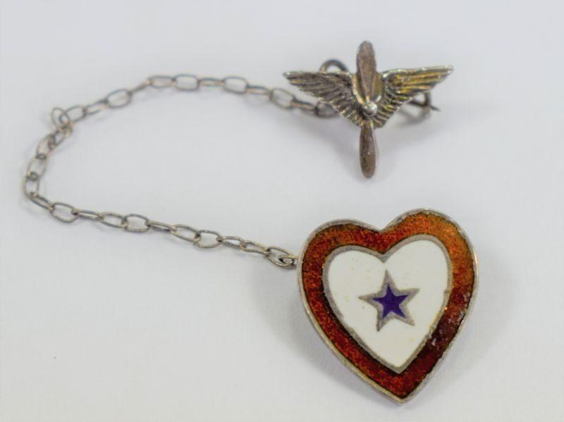 34 Lovely Original WW2 USAAF Sweetheart Brooch Winged Propeller & Enamelled Heart