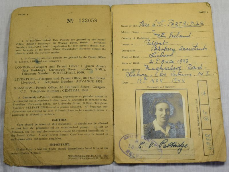 Interesting WW2 Travel Permit Card to Miss C.V.Partridge Co Antrim Northern Ireland