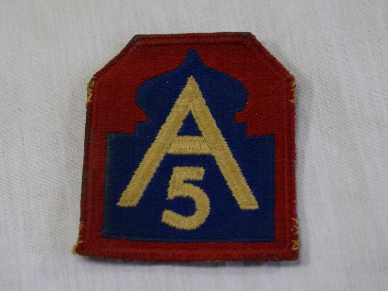 WW2 US 5th Army Cloth Patch with Rear Fixing Loops