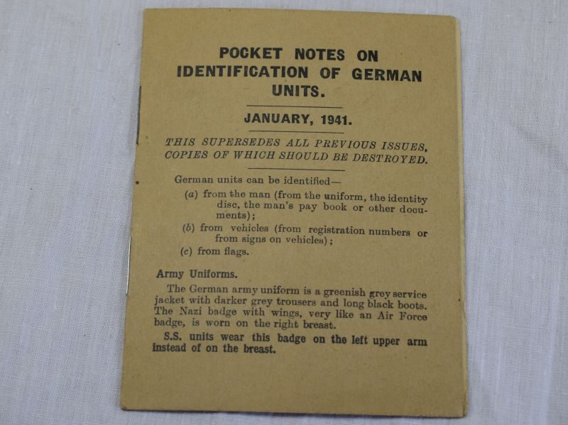 WW2 Pocket Notes on Identification of German Units 1941
