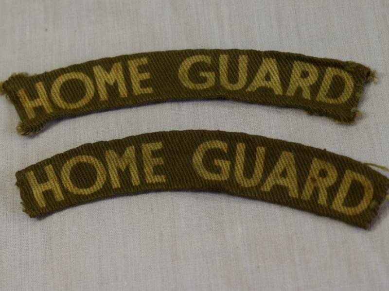 Original WW2 British Home Guard Printed Shoulder Title Pair
