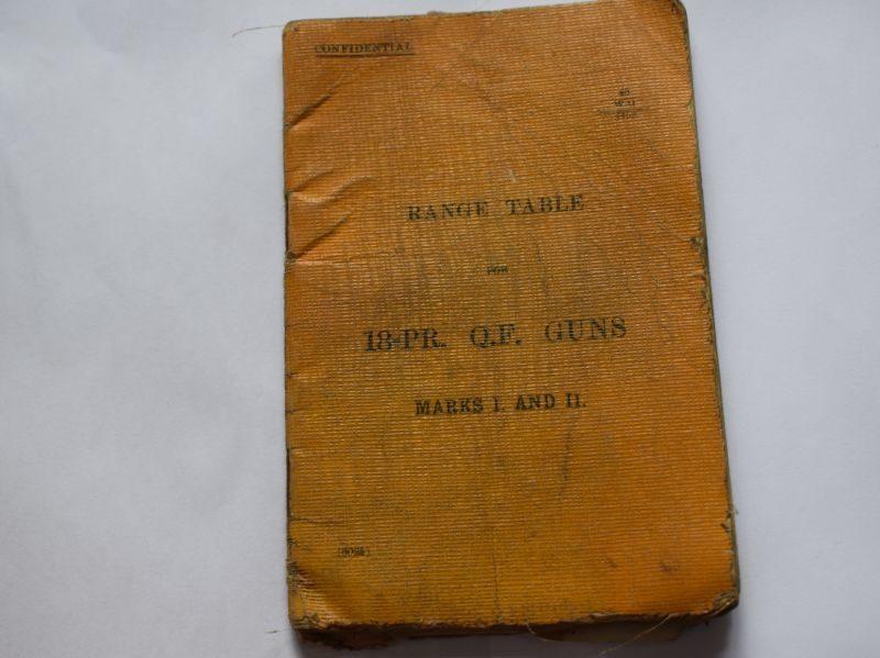 48 Original WW1 British Booklet Range Tables for 18-PR Q.F. Guns Marks I & II