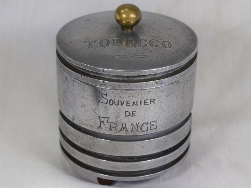 Excellent Unusual 1930s-WW2 Souvenier De France Tobacco Jar Made From Piston Head