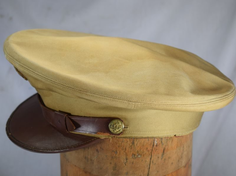 Excellent WW2 US Army Issue Khaki Peaked Cap With ID