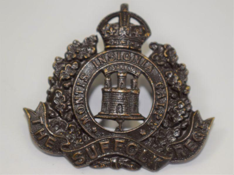 42 Original WW1 WW2 The Suffolk Regiment Officers Bronze Cap Badge