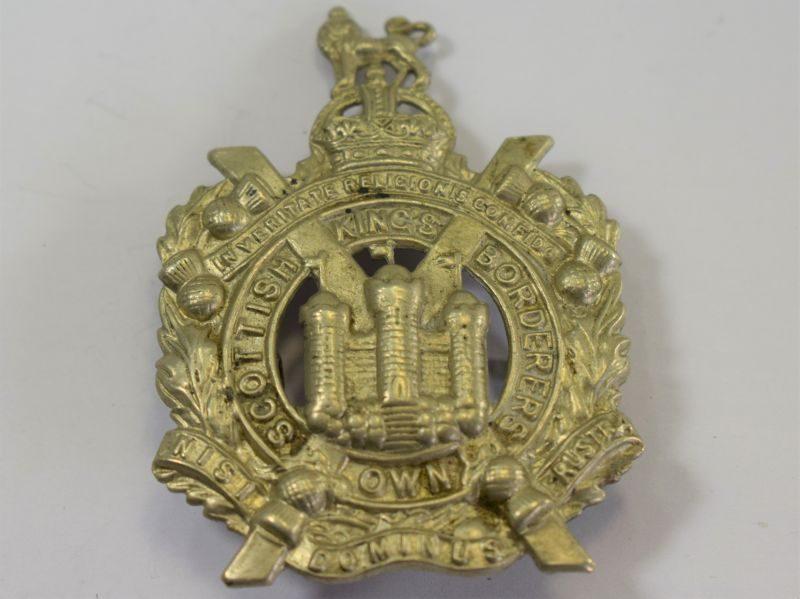 Original WW1 WW2 Kings Own Scottish Borderers White Metal Cap Badge