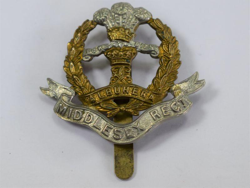 Original WW1 WW2 Middlesex Regiment Bi-Metal Cap Badge