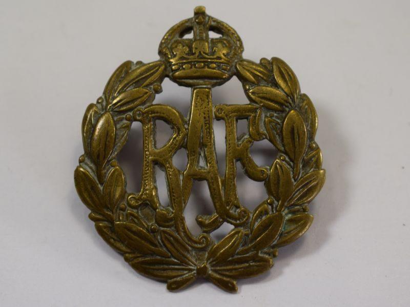Original WW2 British Royal Air Force All Brass Cap Badge