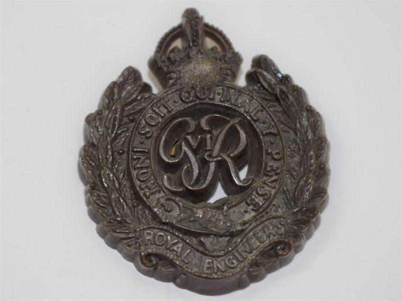 Original WW2 Economy Plastic Cap Badge to the Royal Engineers