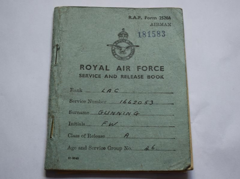 WW2 RAF Service & Release Book to 1662053 LAC F.W.Glinning Enlisted 1942