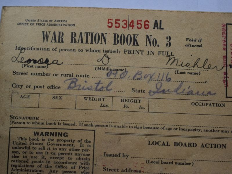 WW2 US War Rations Book No 3 Dated 1943