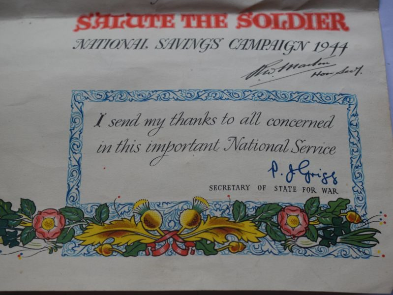 Original WW2 Salute The Soldier Certificate of Honour 1944
