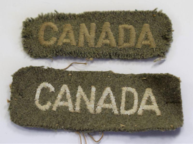 Original WW1 WW2 Canada Cloth Shoulder Titles
