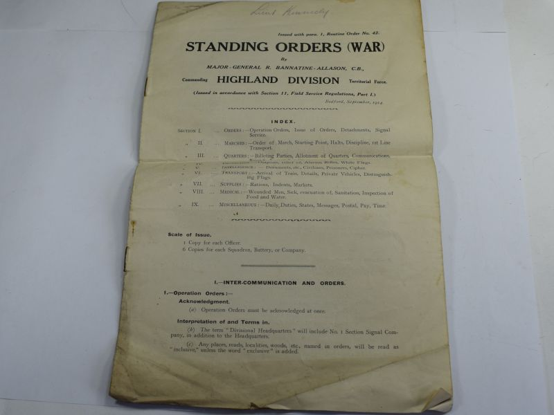 41 Original Standing Orders (War) Highland Division Territorial Force 1914