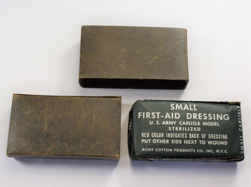 Original WW2 US Army Carlisle Model Small First Aid Dressing & Waterproofed Waxed Box