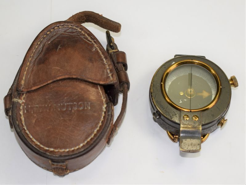 Excellent WW1 British Officers Compass With ID Compass & Case dated 1911