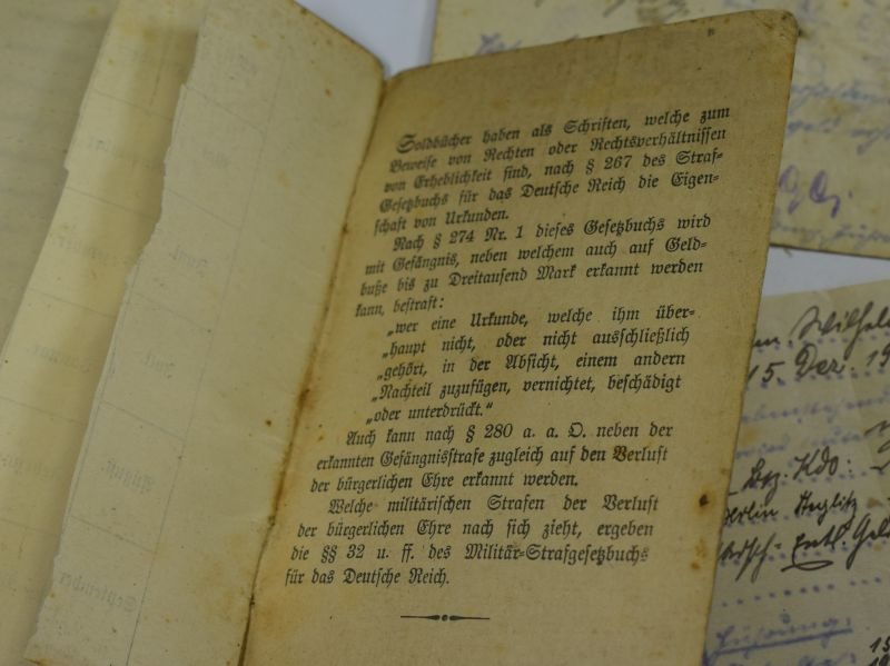 Excellent Original Unresearched WW1 German Army Soldbuch & Paperwork