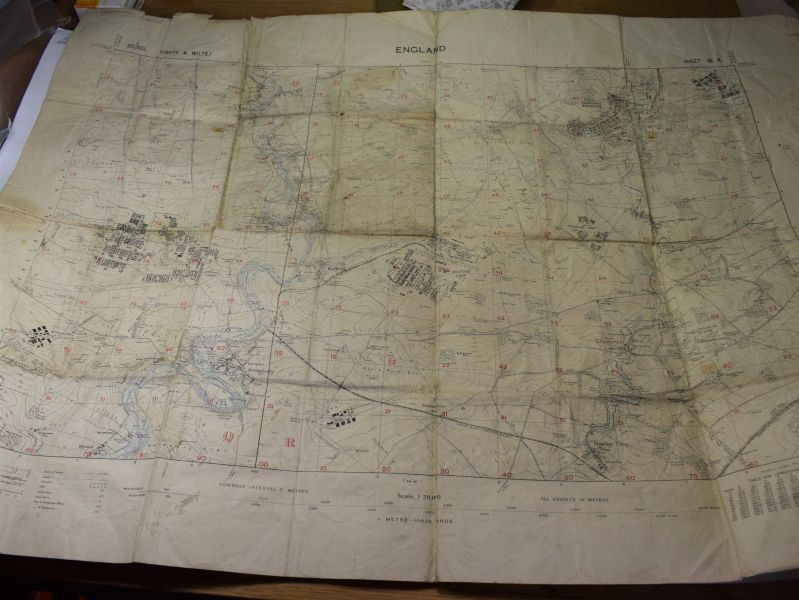 31 Original British Army War Office Map Salisbury Plain 1920, Marked 1st Battalion The Loyal Regt