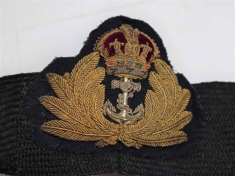 Original WW1 WW2 Royal Navy Officers Bullion Badge & Cap