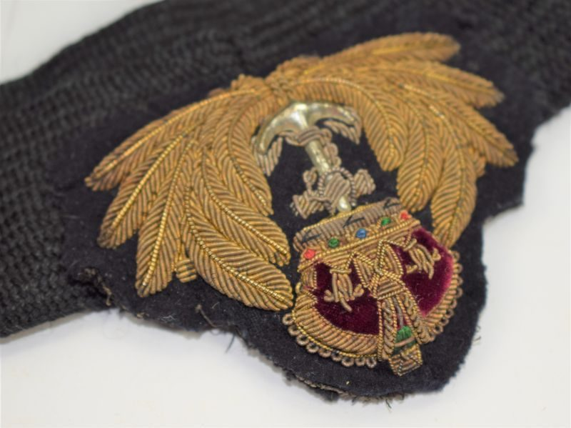 Original WW1 WW2 Royal Navy Officers Bullion Badge & Cap Band