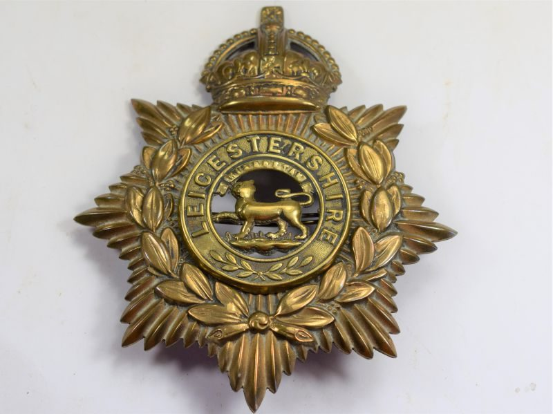 Original Early Kings Crown Helmet Plate To The Leicestershire Regiment