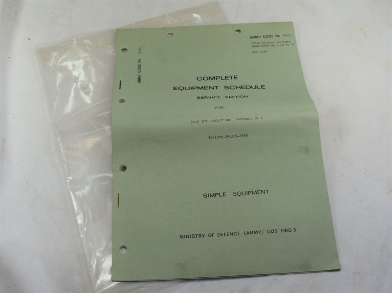 Post WW2 Equipment Schedule for Wartime Test Set Demolition Gambrell MK1