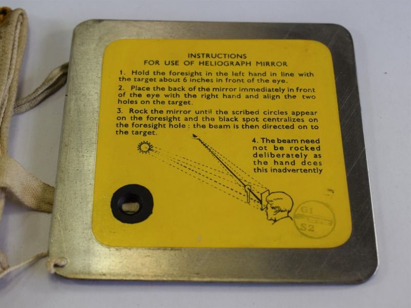 Large Size RAF 4 Inch Heliograph Signalling Mirror and Case
