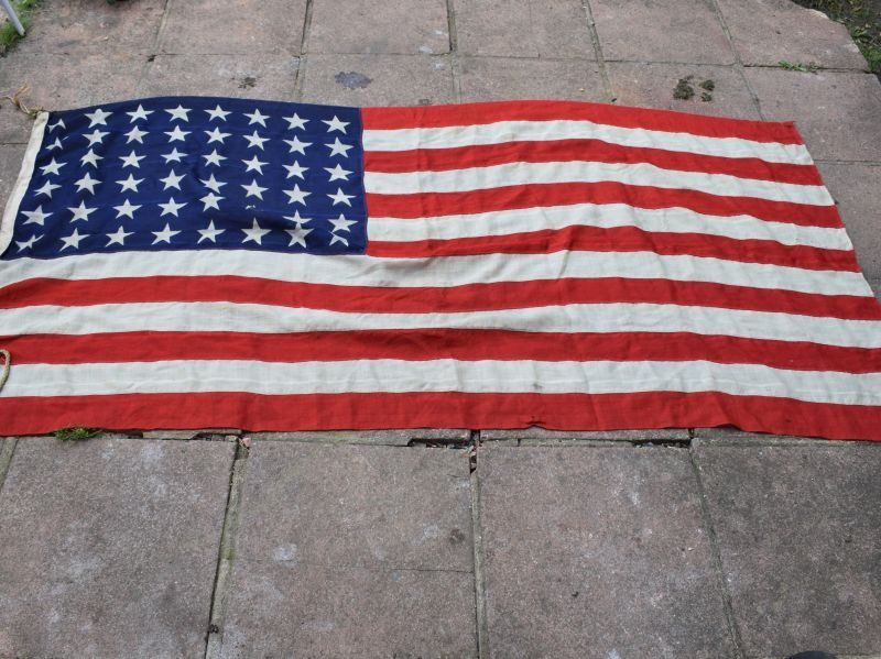 Original WW2 Patriotic US 48 Star Flag of Multiple Part Construction & in A Good Size