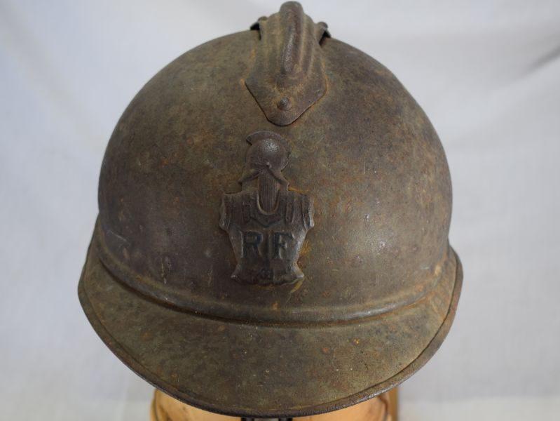 Original WW1 French M-1915 Adrian Steel Helmet & Engineers Badge