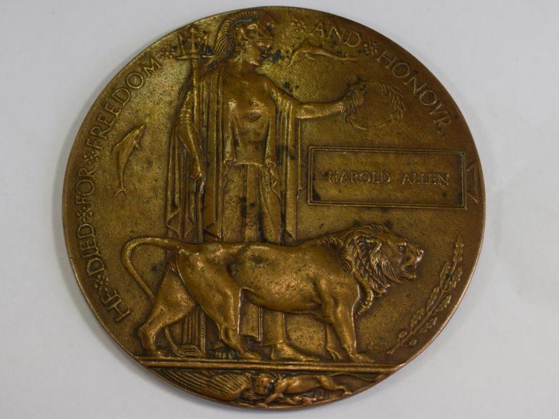 Excellent Original WW1 British Death Penny Memorial Plaque Harold Allen