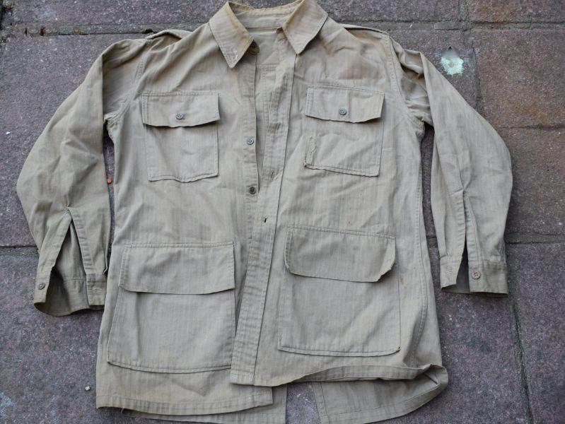 Original WW2 US Made War Aid British Bush Jacket in Khaki HBT Material