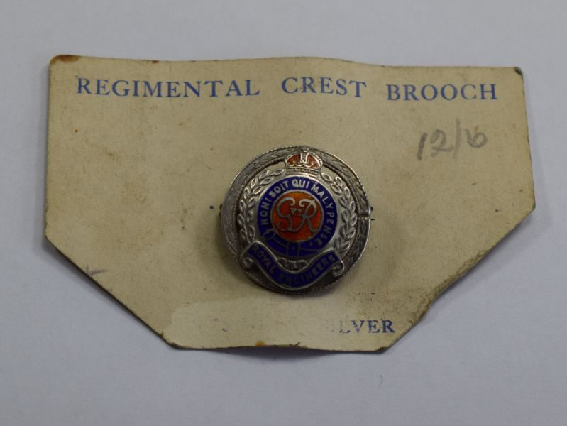 1 WW2 Royal Engineers Silver & Enamel Sweetheart Brooch on Original Card