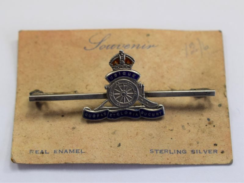 2 Original WW1 WW2 Royal Artillery Sweetheart Brooch & Backing Card