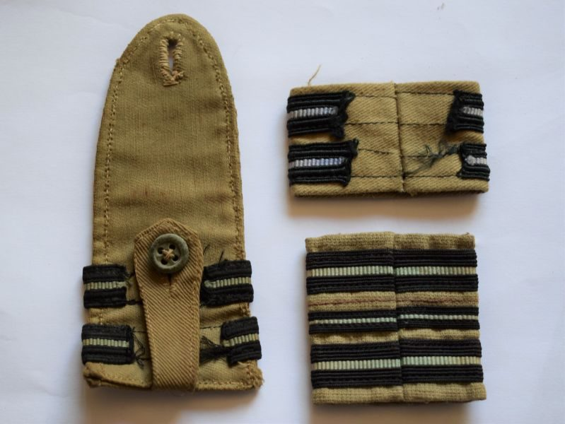 Set of 3 Original WW2 RAF Rank Slides & Epaulette