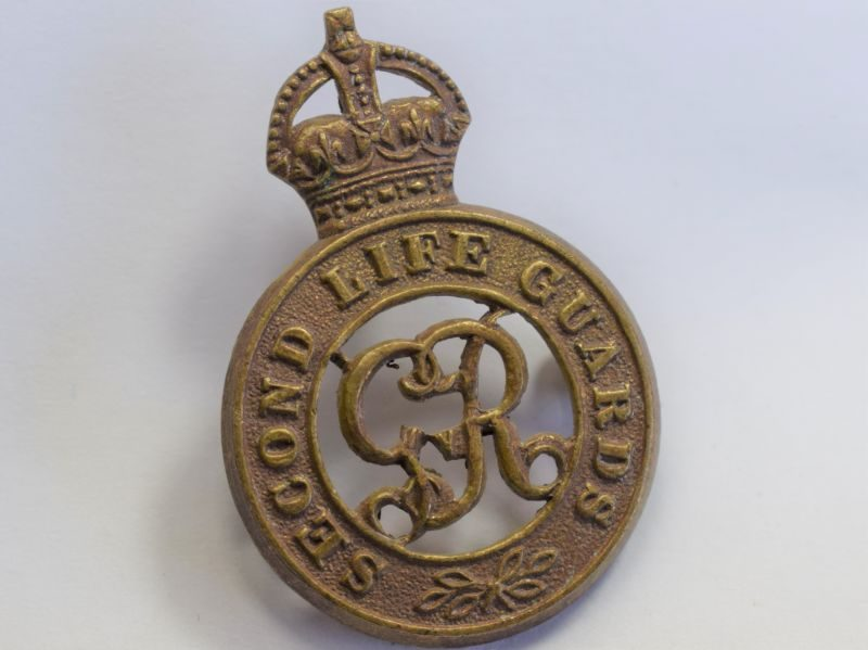 27 Original WW1 2nd Life Guards Brass Cap Badge