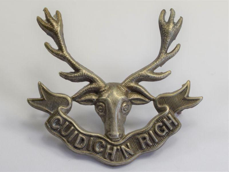 34 Original WW1 WW2 Seaforth Highlanders White Metal Cap Badge
