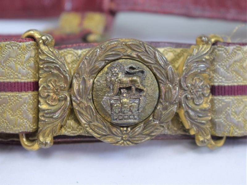 Lovely Early Victorian Officers Ornate Sword Belt & Buckle