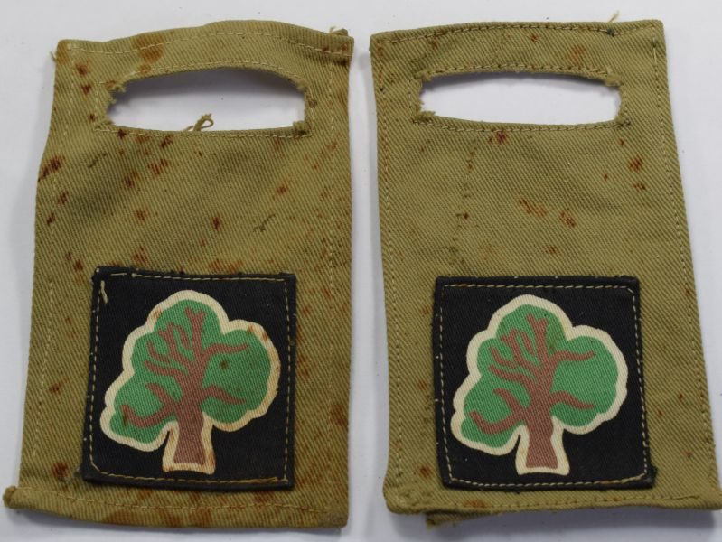 43 WW2 Removeable Cloth Insignia pair 46th North Midland & West Riding Infantry Div