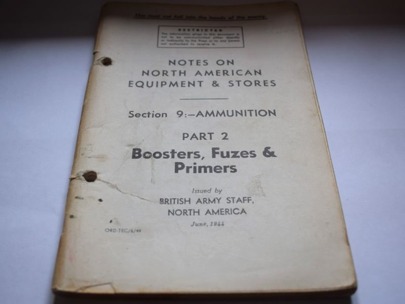 68 Interesting WW2 British Pamphlet Notes North American Ammunition, Boosters, Fuzes & Primers