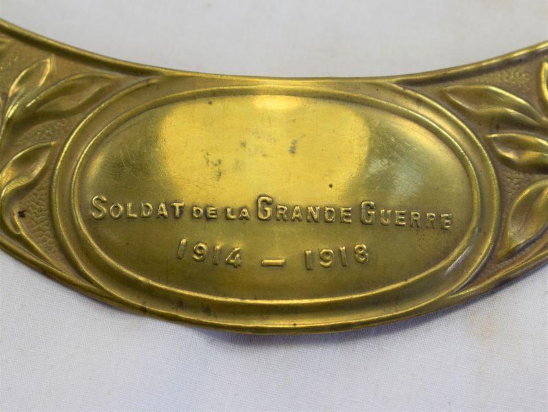 Original WW1 French Steel Helmet Plate Soldat De La Grande Guerre 1914-1918