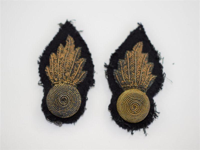 WW1 WW2 British Royal Artillery Officers Gold Braid Collar & Cap Insignia