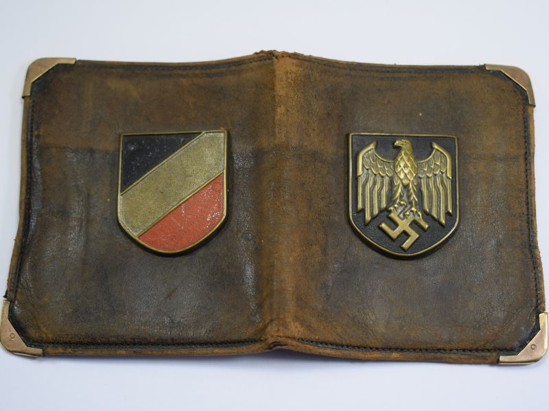 Interesting Original WW2 British Soldiers Souvenir Wallet With Nazi Pith Helmet Insignia Attached
