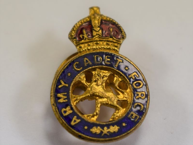2 WW2 British Army Cadet Force Lapel Badge, Pierced Front
