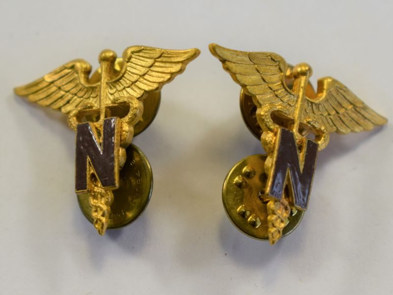 99 Original Pair of Post WW2 US Army Nursing Corps Collar Badges