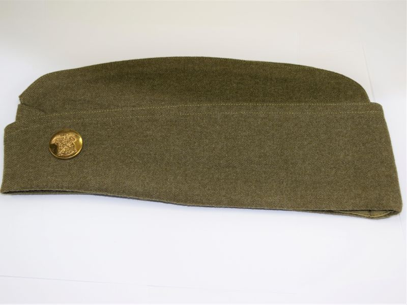 Original WW2 US Army OD Garrison Cap Dated 1944 & Quartermaster Corps Badge