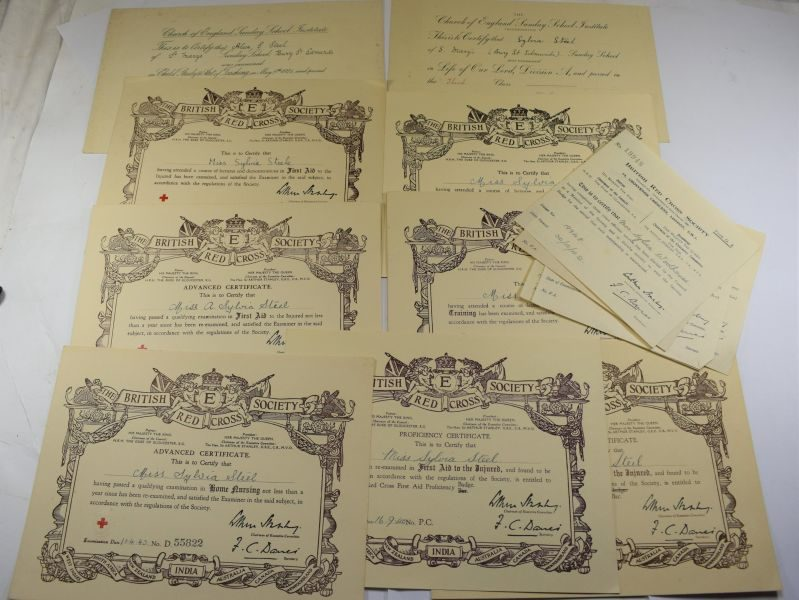 ZZ Set of 12 Original WW2 Red Cross Certificates All to Same Lady 1939-1943
