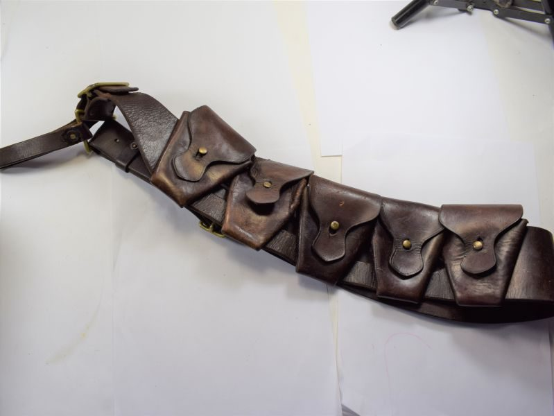 WW1 British Army Issue 1903 Pattern Leather Bandolier With ID
