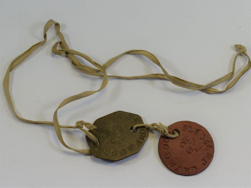 9 Original WW2 Issue RAF Dog Tags & Cord 515054 J.E.Woodward