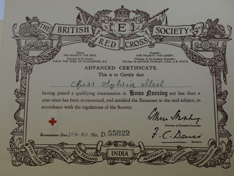ZZ Set of 12 Original WW2 Red Cross Certificates All to Same Lady 1939-1943