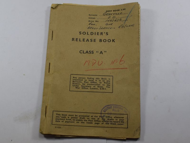 AB WW2 Soldiers Release Book Class A to 1497676 Gnr S.D.Granville Royal Artillery